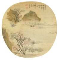 Crossing to the Peach Garden Tao Yuan in the Spring Painted Copying Zhao Mengfu (1254-1322) in Ovoid Fan Format, Zhao Ang Yang, ink and color on silk