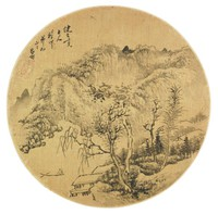Landscape, Lu Cai, ink on gold-flecked silk