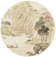 Viewing the Great Cliffs of Mount Rui by Boat, Li Kui, ink and color on silk