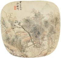 Summer Landscape with Buildings in Shaded Valley in Leaf-Shaped Fan Format, You Qi Xiang, ink and color on silk