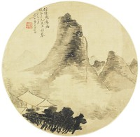 Landscape, Yi Jingtao, ink and color on silk