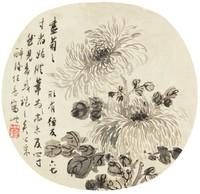 Chrysanthemums, Wu Xuecao, ink on silk