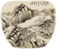 Landscape, Li Ruwei, ink on silk