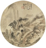 Summer Landscape in Round Fan Format, Xiong Jingxing, ink and color on silk