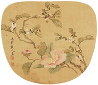 Flowers, Xie Guansheng, ink and color on silk