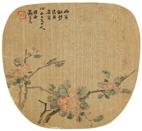 Flowers and Insects, Luo Anxian, ink and color on gold flecked silk