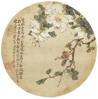 Flowers and Insects, Zhu Lian, ink and color on silk