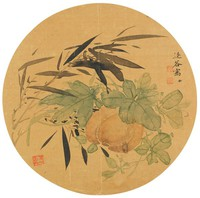 Pumpkin and Bamboo, Xie Guansheng, ink and color on silk