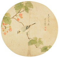 Bird on Cherry Tree, Song Guangbao, ink and color on silk