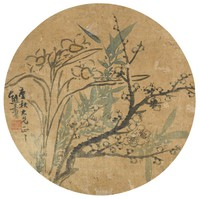 Bamboo, Plum Blossoms, and Narcissus, Xiong Jingxing, ink and color on silk