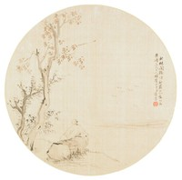 Quietly Listening in the Autumn Woods Painted in the Style of Hua Yan (1682-1756) Dedicated to Brother Tao in Round Fan Format, Cui Jin, ink and color on silk