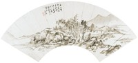 Mid-Winter Landscape with Footbridge to Pavilion in Folding Fan Format, Monk Dekun, ink on mica ground paper