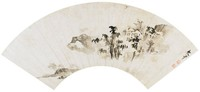 Landscape, Attributed to Wen Dou, ink on mica ground paper