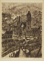 Market Day in Senlis, Samuel Chamberlain, etching