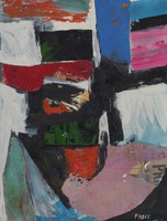 The center of the work is a mix of black and orange brushstrokes, a piece of red-painted newspaper, and a green and black-painted piece of paper that has been adhered to the paper. On both sides of the black center are areas of white with some hints of light blue paint on the right. There is a large piece of newspaper painted lavender in the lower right part of the paper and a blue-green triangle of cut newspaper on the left-hand side. The upper half of the paper has several rectangles of color, including areas of pink, black, white, orange, and blue.