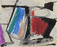 The work features four primary areas of color: an area of red on the right side of the paper, a small purple triangle adjacent to an irregular white space on the lower left side of the paper, a small dash of orange paint above the red area surrounded by a partial black oval, and a blue and green irregular rectangle next to a patch of peach on the left side of the paper. Each area of color is surrounded by black lines, ranging in thickness and size. The background is painted white.