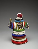 Doll, Groblersdal, Ndebele people, Transvaal, South Africa, African, straw, glass bead, textile, yarn