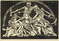 A woman with long hair is being harassed by a group of four skeletons. She is forced on her back as one skeleton pulls her braids and another beginnings to stab her foot with a scythe.