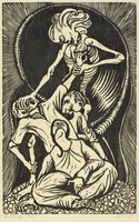 A skeleton figure stands above three human figures. The skeleton reaches down and pushes against a man's face while pulling his left arm.