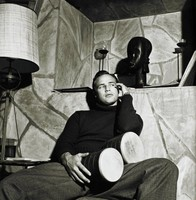 Marlon Brando With Bongo Drums in the Den of His Beverly Hills Home, Sid Avery, gelatin silver print