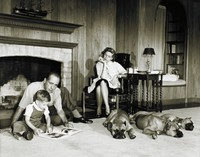 Humphrey Bogart and Lauren Bacall with their son Stephen and Pet Boxers, Sid Avery, gelatin silver print