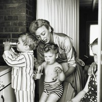 Eve Arden with her Children Douglas, Duncan, & Connie, Los Angeles, Sid Avery, gelatin silver print