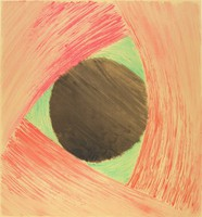 An abstract composition that mimicks large brush strokes in pink, green, and black. The strokes form a triangle around a black circle. This print is part of a portfolio.