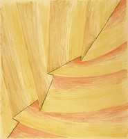 An abstract composition that mimicks large brush strokes in yellow, red, and brown. A black zigzag line crosses through the composition diagonally. This print is part of a portfolio.