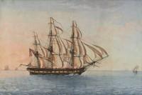 America of Salem, Attributed to Michele Felice Cornè, watercolor on paper