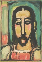 Multicolored plate from the series Fleurs du mal (1936-1938) depicting a bust image of Christ.