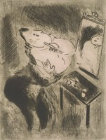 A man stands in front of a mirror and table. He holds a razor to his face with his left hand and makes a gesture with his right hand. This plate is from book Les ames mortes (Dead Souls) by Nicolas Gogal.