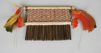 Comb, Wai Wai people, Native South American, wood, thread and feathers