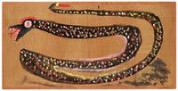 Horizontal painting of a black snake with yellow, pink, red, white and clay spots