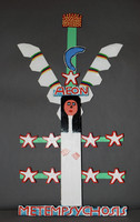 """Carved and painted female angel with """"Aeon"""" above head, and """"Metempsychosis"""" in band at feet"""