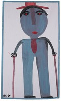 Vertical painting of a male figure holding a cane