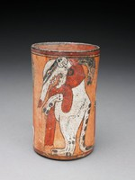 Polychrome cylinder vessel with procession of animals walking on hind legs, including monkey, jaguar, and coatmundi.