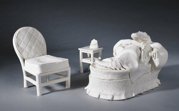 Alligator Lady, Frank Fleming, unglazed bisque porcelain