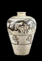 Glazed stoneware jar with swollen shoulders and narrow mouth and  two applied dragons chasing Buddhist jewels of wisdom, above band of cloud motifs. Typicaly of meiping wine jar form of China.