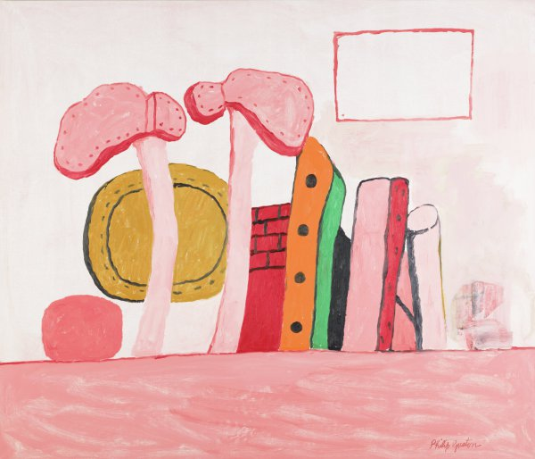"""The painting's foreground is reddish pink. A red """"horizon"""" line delineates this section and a pale pink background. A linear arrangement of Images/objects stand at the horizon. Most are recognizable and recurrent Guston objects: a pair of skinny, upturned legs in hobnail shoes, a knife blade, portion of a brick chimney or wall, a tool handle, the back of a stretched, oval canvas. Other areas are simply shapes or areas of paint. A red-outlined rectangle hovers at the painting's top left. Rendered in a palate of queasy rose and gray with punches of green, orange, and ochre, this cryptic configuration is compositionally direct, like a comic panel."""