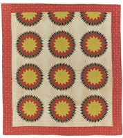 Pattern is Mariner's Compass; red, yellow, and green on cream background, pencil lines still showing