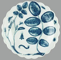 """Blue and white dish, hand-painted, with molded stems and leaves in the """"Blind Earl"""" pattern"""