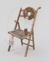 Who Cleans Up After You've Reached Your Goal in the Athletic Effort?, Lonnie Holley, wooden chair, brush, pill bottles, Gatorade bottle, wire, plastic, lace and string
