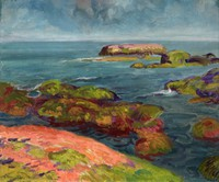 Coastal scene painted in blues, with land mass cutting diagonally across the lower left corner. Cloud-filled sky above sharp horizon line, filling top-most quarter composition.