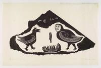 Inuit print process of stonecutting