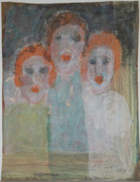 Three Girls, Sybil Gibson, tempera and watercolor on brown paper