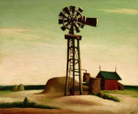 Solitary windmill in center of composition, with haystack and red outbuilding in background, to left and right respectively.