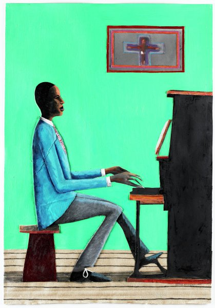 Rehearsal (Music Series), Benny Andrews, oil and collage on paper