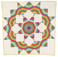 Broken Star. Starburst, vibrant colors of red, yellow, blue, green and purple on white ground