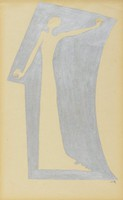 Outline of a figure with outstretched arms surrounded by a solid silver geometric shape.