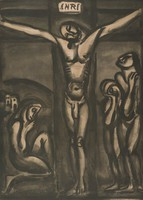 """This crucifixion scene shows Jesus on a cross with his head hanging to the left. A sign inscribed """"INRI"""" hangs above him. A figure kneels in profile on the left. Two figures stand on the right. This is plate 31 from the """"Miserere"""" series."""